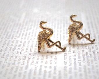 Gold Flamingo Earrings -- Gold Flamingo, Gold Bird Earrings