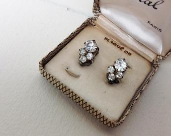 Vintage earrings clip 50s rhinestones