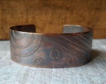 Geometric Etched Copper Cuff Bracelet. Geometric Jewelry. Bohemian Style Cuff. Copper Cuff. Boho Jewelry. Boho Chic. OOAK Jewelry.