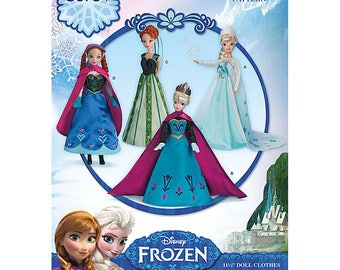 "11.5"" Doll Size Elsa Ice Queen Gown and Anna Dress 