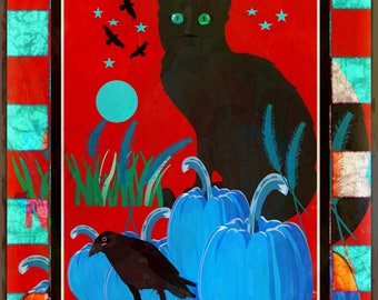 Color Digital print of black kitty sitting with a black bird and blue pumpkins
