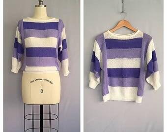 Lilacs blouse | vintage striped knit | 1980s pointelle top | s - m