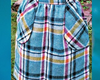 Vintage Seafoam Green Plaid Wool Skirt