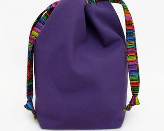 Sock Draw Reversible Canvas Bag - Pink and Purple
