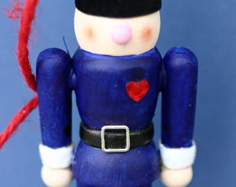 Christmas tree ornament, wooden drummer boy, hand-painted, nutcracker, blue and white, Christmas decoration, unique art