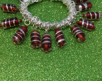 Bright Red with Silver colour foiling Glass Elasticated Expanding Fashion Trend Bracelet - Ladies Jewellery-Gifts for her-Gifts for women