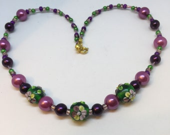 Handmade Necklace  Green and Purple and lemon flower Glass Lampwork Bead Ladies Gift Handmade Necklace Gifts for Her