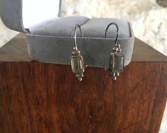 Art Deco Earrings Vintage Rhinestone Earrings Sterling Silver Drop Flapper Earrings Vintage Jewelry Clear Crystal Rhinestone