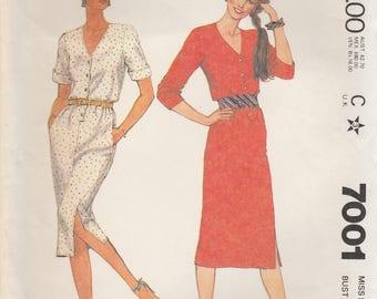 Simple 80s Dress Pattern McCalls 7001 Size 12 Uncut