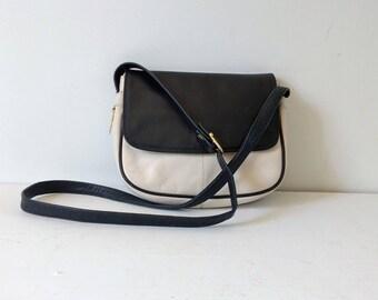 Vintage two tone white and blue leather crossbody bag, small vintage handbag