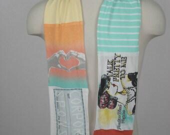 T-Shirt Scarf:  Fashionista, fashion scarf, Mall Queen, Diva scarf, Shopaholic, wearable fabric art, OOAK scarf, OOAK gift, long scarf