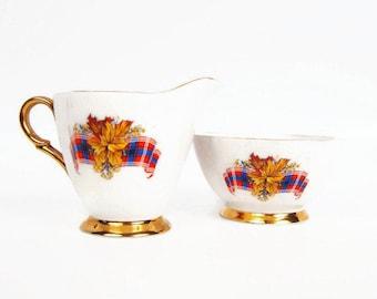 Vintage Royal Canadian Tartan Sugar Bowl Creamer Windsor Bone China England 1950s Wedding Gift Elegant Serving Pieces