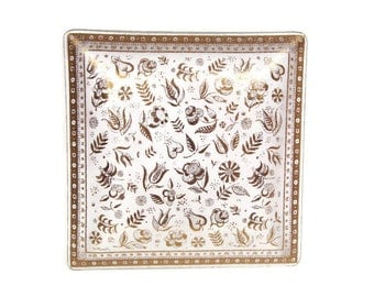 Vintage Georges Briard Persian Garden Square Platter 22k Gold Serving Tray Floral Design Painted Glass