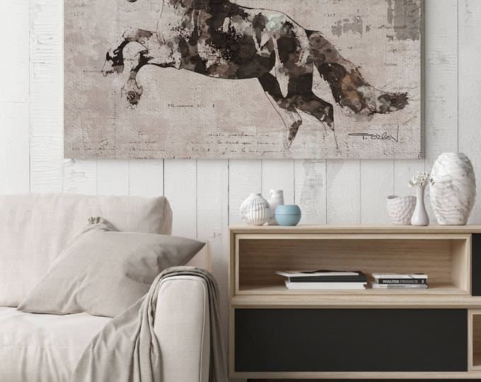 "Running Wild Horse 1. Extra Large Horse, Horse Wall Decor, Brown Rustic Horse, Large Contemporary Canvas Art Print up to 81"" by Irena Orlov"