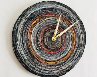 Wall Clock, Paper Art, Eco Friendly Decor, Home and Living, Home Decor, Decor and Housewares, Wall Clock, Paper Anniversary Gift