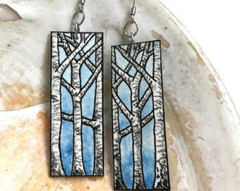Blue Winter Birch Trees Hand Painted Watercolor Earrings
