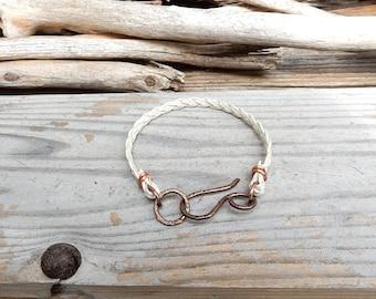 White Braided Leather Bracelet Simple Leather Band Handmade Copper Leather Bracelet Minimalist Jewelry Boho Bohemian Minimalist Bracelet