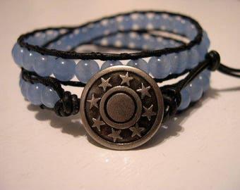 Beaded wrap bracelet, Beaded LeatherWrap, Boho bracelet - 937