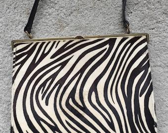 Vintage 1960's Fur Leather Black White Calf Hair Handbag by Nicholas Reich