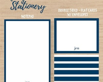 Navy Stationery // Personalized Notepad // Personalized Flat Cards