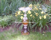 "Bird bath. Bird feeder. Garden art. Garden sculpture. Golden glass. Amber glass.  ""The Aurelia"" is made with repurposed/upcycled glass."