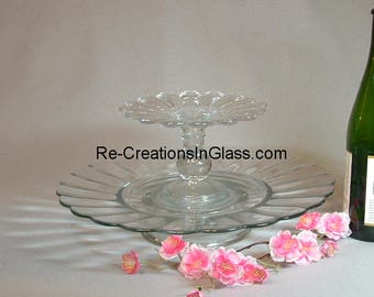 Cupcake stand. Wedding cupcake stand. Two-level server. Cupcake server. Cupcake plate.   Pedestal stand. 2 tier stand.