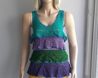 Ruffles DRESS - Mini Dress / Sleeveless Dress / Crochet Dress / Hand Knitted Dress / Summer Dress / Multicolor Dress / Spring Summer