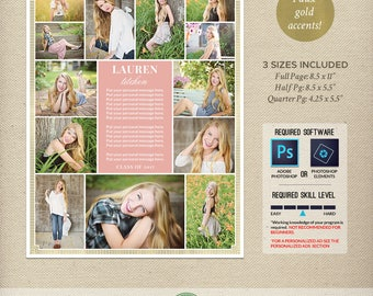 Senior Yearbook Ad Templates, Graduation Ad, High School, College, Middle School, First Communion, Full Page, Half Page, Quarter Page - Y3
