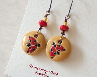 Colorful Summer Earrings, Ladybug Jewelry, Golem Design Studio Carved Ceramic Beads, Yellow and Red , Gift for Gardener, Handcrafted Jewelry