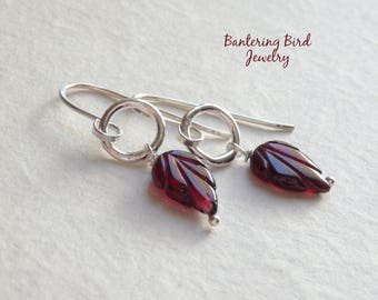 Small Garnet Earrings, Red Gemstone Leaf with Fine Silver Ring, Unusual Gift for Woman, Sterling Silver Gemstone Jewelry