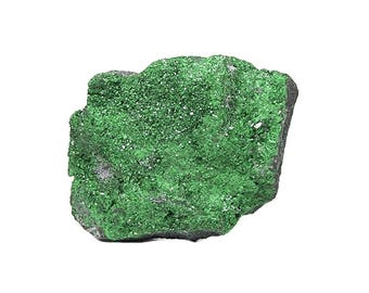 Uvarovite Green Sparkling Gem Garnet Crystal Druzy Semiprecious Stone Mineral Specimen, Geo Gemstone