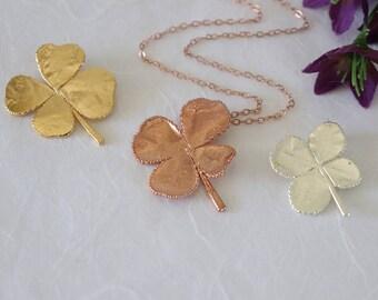 SALE Four Leaf Clover Necklace, Silver 4 Leaf Clover, Rose Gold Leaf, Gold 4 Leaf Clover, Pink Leaf, Real Clover Pendant, SALE348