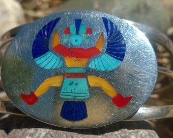 Knifewing Inlay Cuff Bracelet by Rolanda Haloo From The 1990's