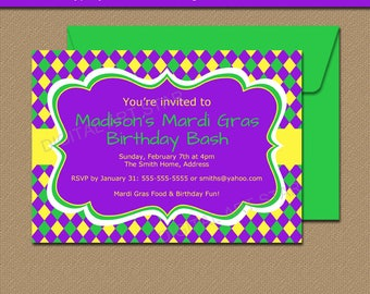 Mardi Gras Birthday Invitation Template, EDITABLE Mardi Gras Party Invitations Printable Mardi Gras Invites, Birthday Party Invitations M1