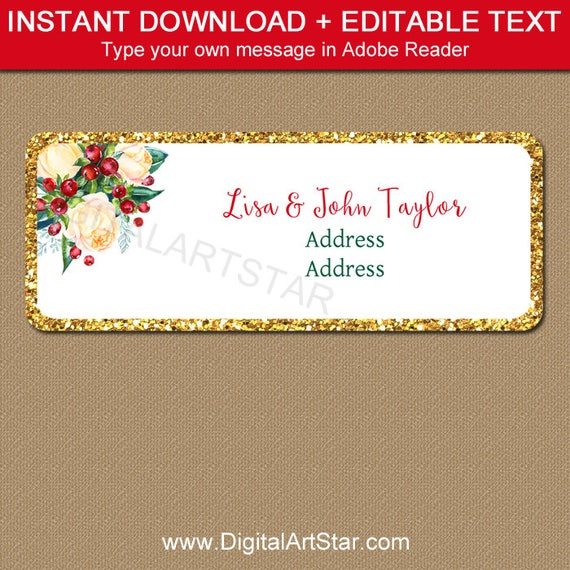 Christmas Address Label Template Editable Christmas Return Address