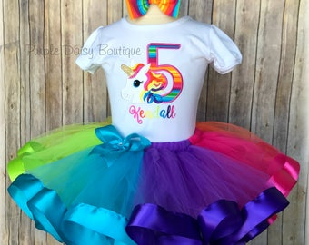 Bright Rainbow Unicorn Ribbon Trimmed Tutu Outfit - Unicorn Birthday Tutu Set - Rainbow Unicorn Party Dress  First Birthday  Second Birthday