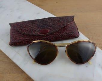 Vintage Sol Amor Women's Sunglasses, Vintage Cats Eye Sunglasses, Tortoiseshell Glasses, Retro 1950's Sunnies With Case