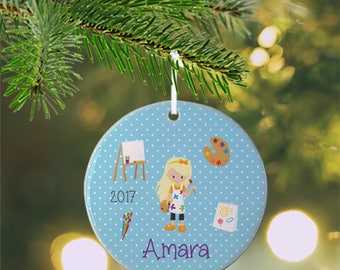 Personalized Kids Ornament - Little Artist Boy Girl Blue Polka Dot Paint Brushes, Children Christmas Ceramic Circle Heart Snowflake Star