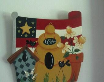 Patriotic, wall hanging, summer decor, flag, birdhouse, beehive, flower pot, handpainted