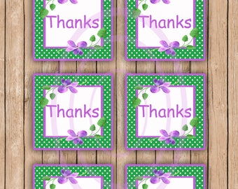 Purple Floral Thank you tags Favor tags Friend thank you cards printable thank you cards  gift wedding gift shower gift card
