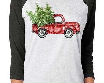 Christmas Truck Shirt ~ Christmas Tree Tee ~ Truck Tree Tee ~ Christmas Raglan Tee ~ Christmas Tee Shirt ~ Raglan Tee Shirt ~ Baseball Tee