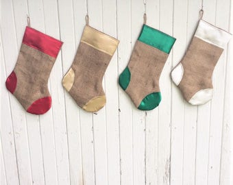Satin & Burlap Christmas Stocking- 4 Colors of Burlap/Satin Available- Shabby/Rustic Chic-Holiday Decor-Christmas