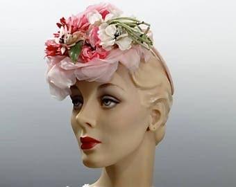 1940's Women's Fascinator Tilt Hat Pink Millinery Flowers Vintage Percher