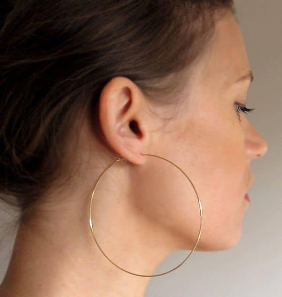 Gold Hoop Earrings 3 inch Gold Hoops Elegant Classic