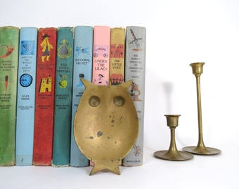 Brass Owl Tray // Vintage Tarnished Gold Metal Owl Shaped Trinket Dish Jewelry Caddy Ashtray Mid Century Modern Hollywood Regency Birds