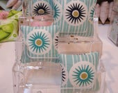 1:6TH Scale (Large) Miniature Pillow in Mid Century Modern Aqua and gold starburst fabric