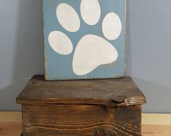 DOG SIGN - Dog Paw Only-  rustic wooden hand painted sign.