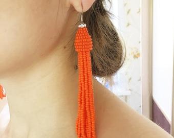 Beaded Tassel Wire Hook Earrings Tangerine with Crystals