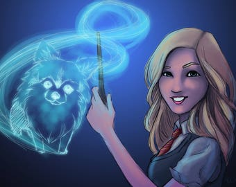 Custom Harry Potter Hogwarts Patronus Digital Portrait