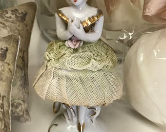 Ballerina Lace Tutu Pale Green Porcelain Figurine French Ballet Marie Antoinette Tulle